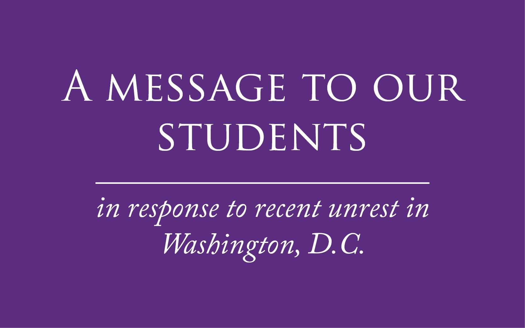Message to our students